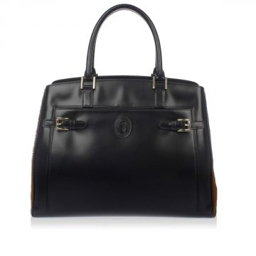 Calf Leather Shopping Bag with Calf fur Details