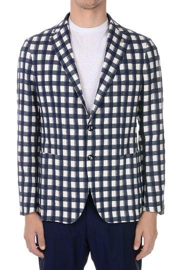 Cotton Blend Checked Blazer