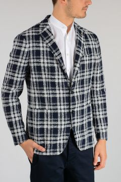 Cotton Linen Nylon Checked Blazer