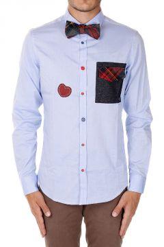 Camicia in Popeline di Cotone con Papillon Staccabile