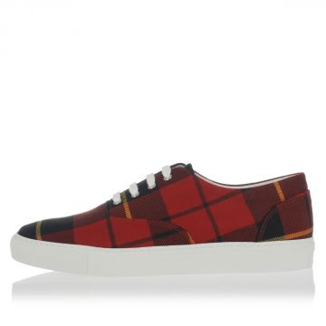 Wool Cotton Checked Tartan Sneakers