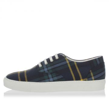 Leather and Fabric Checked Sneakers