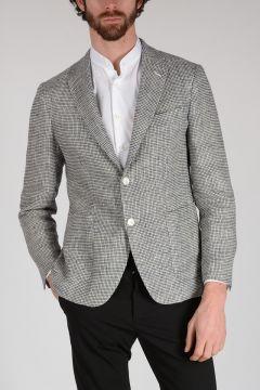 Silk and Linen Checked VELVET Blazer