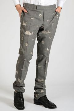 Embroidery Wool Pants