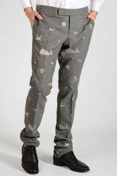 Pantalone in Lana con Ricami