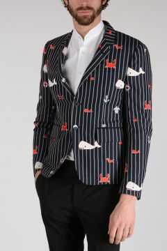 Striped Animal Embroidered Blazer