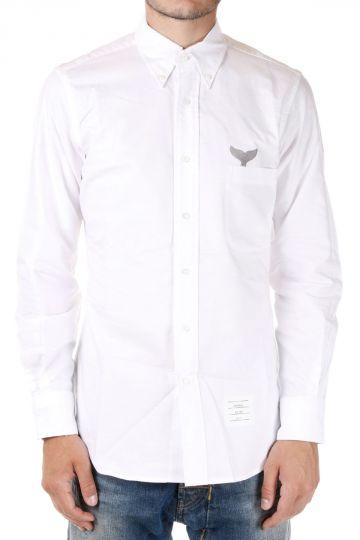 Camicia in Popeline di Cotone con Ricamo