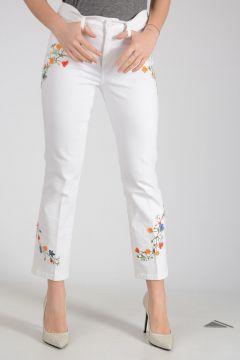 19cm Embroidered Stretch Denim Jeans