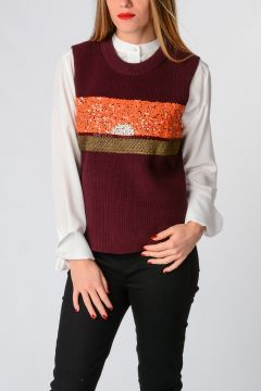 Knitted Cotton Sweater With Sequins