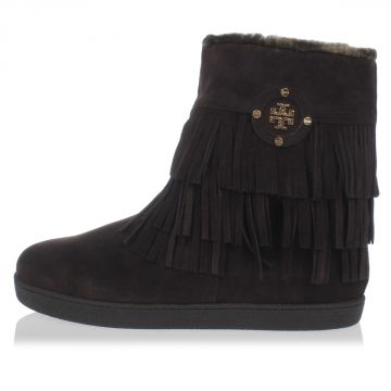 Leather and Fur Boots With Fringes