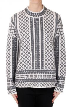 Geometric Printed Round Neck Sweater