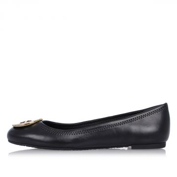 Ballet Flats in Leather with Logo