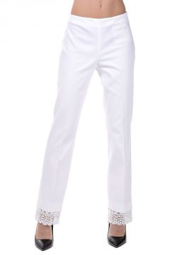 Stretch Cotton Pants with Embroideries at Hem