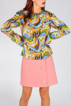 Psychedelic Printed Viscose & Silk Blouse