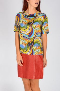 Psychedelic Printed Viscose & Silk Top