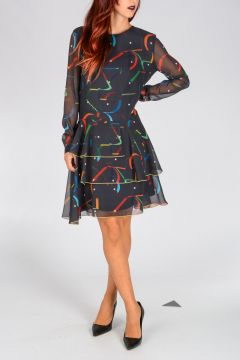 Geometric Patterned Silk Dress