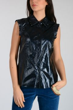Ruffled Metallic Leather Shirt