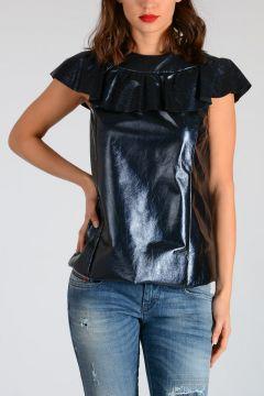 Ruffled Metallic Leather Top