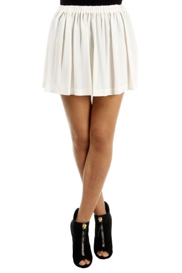 Silk blend pleated quilt short skirt