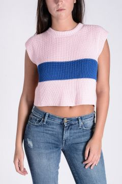 TWISTY PARALLEL UNIVERSE Cotton Knitted Crop Top