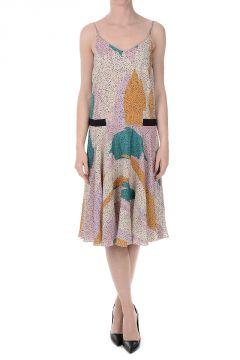 Viscose and Silk Flared Dress