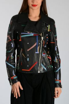 Leather with Embroidery Jacket