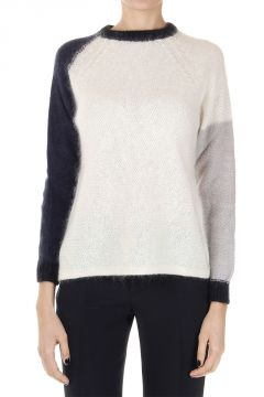Round neck mohair mixed sweater