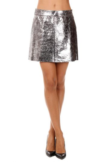 Crackle Leather Skirt
