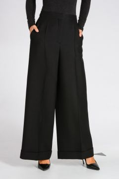 Virgin Wool & Silk Wide Leg Pants