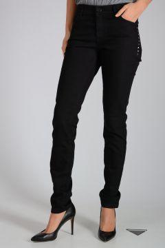 Jeans in Denim con Borchie 14cm