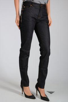 Jeans in Denim con Borchie 15cm