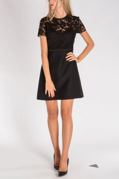 Virgin Wool & Silk Dress with Lace Bust