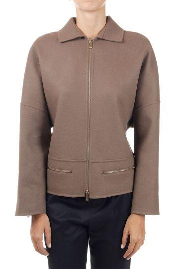 Angora and wool zipped jacket
