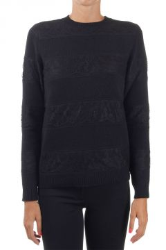 Laced virgin wool and cashmere sweater