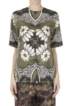 Patterned Silk T-Shirt