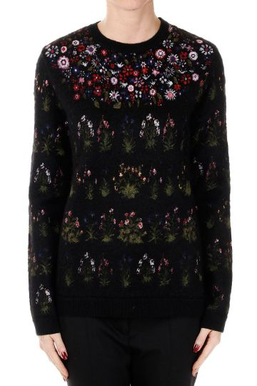 Floral Printed Round Neck Sweater