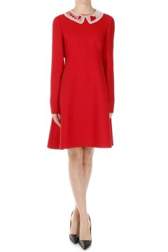 Virgin Wool and Silk Dress With Collar