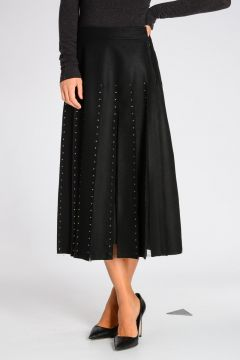 Virgin Wool Skirt with Rhinestone Details