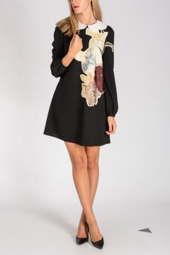 Wool Sable Dress with Floral Print