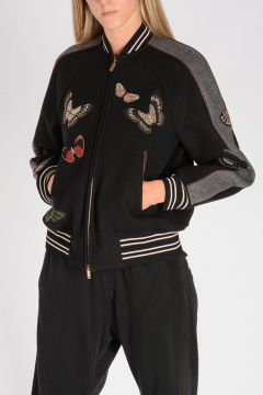 Virgin Wool bomber with embroidery