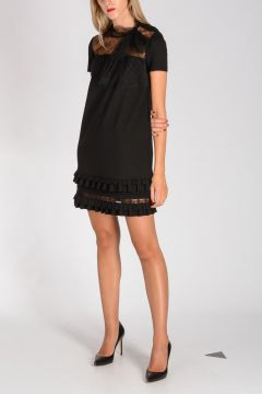 RED VALENTINO Stretch Viscose Dress with Tulle Details