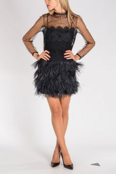 RED VALENTINO Lace & Tulle Twin-Set Dress with Ostrich Feathers