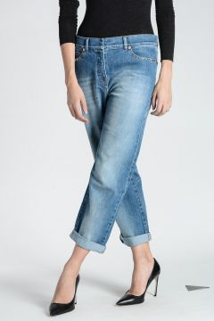 Jeans in Denim STRETCH con Borchie 19 cm