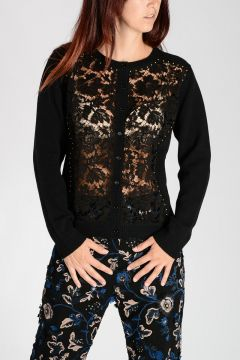 Virgin Wool Studded Cardigan