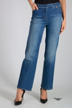Jeans in Denim stretch con Borchie 22cm