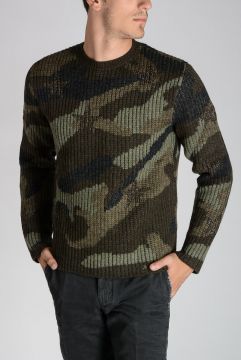 Maglione in Lana Camouflage