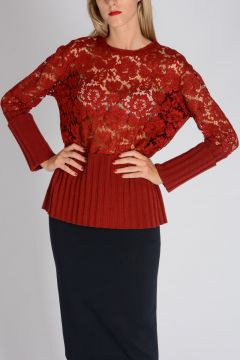 Virgin Wool & Cashmere Sweater with Lace Detail