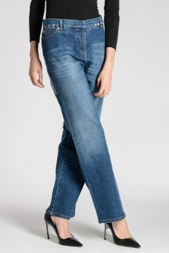 Jeans in Denim STRETCH con Borchie 18 cm