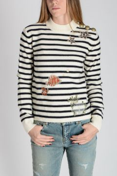 RED VALENTINO Knitted Virgin Wool Embroidery Sweater
