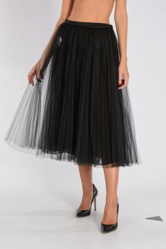 Tulle & Stretch Silk Skirt